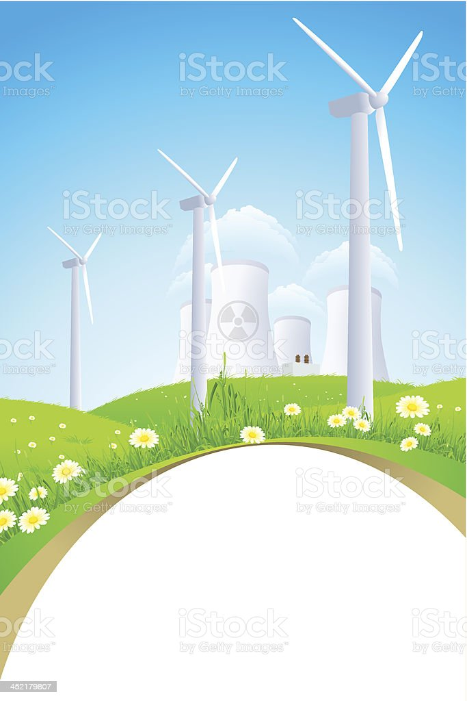 Green Landscape with Windmills and Nuclear Power Plant royalty-free stock vector art