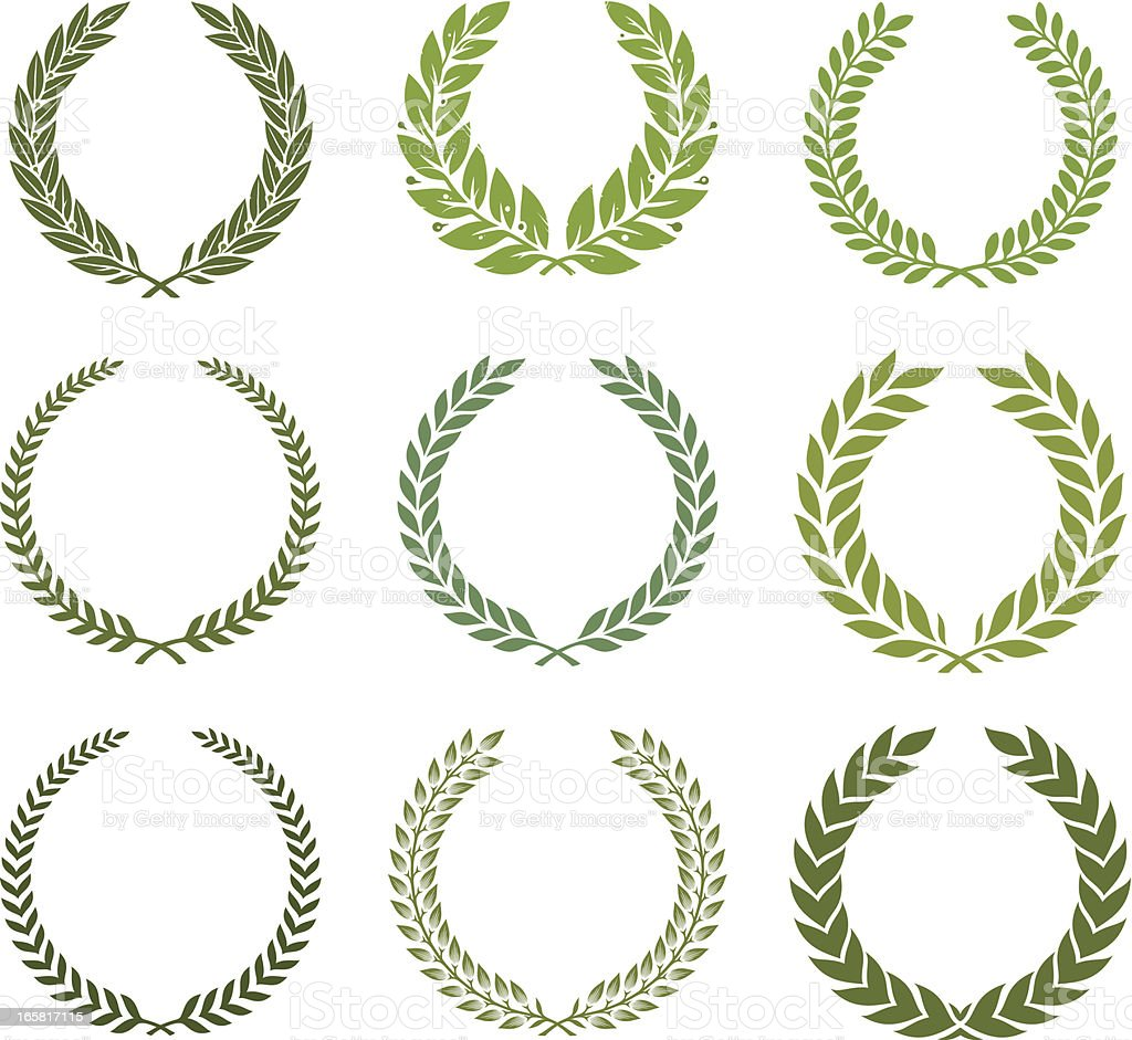 Green laurel wreath set vector art illustration