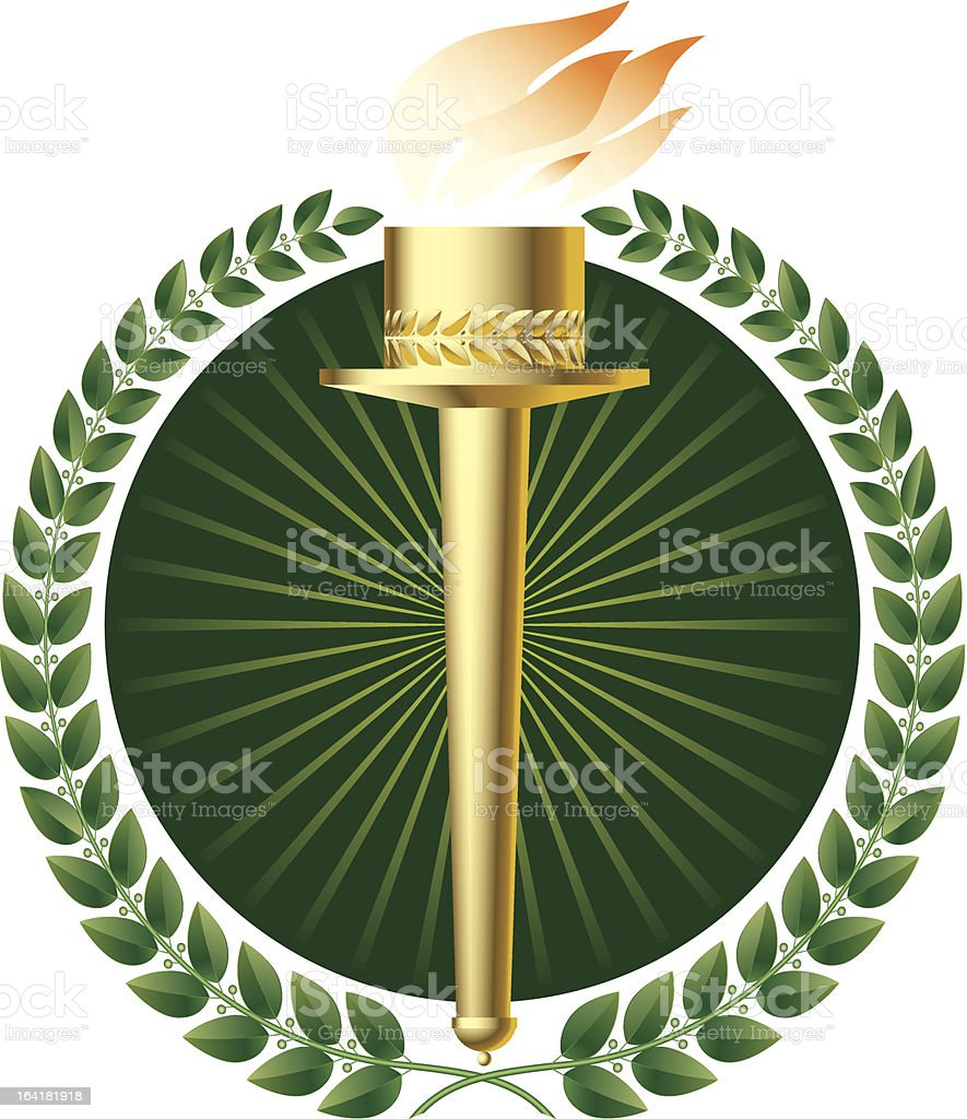 Green laurels and gold torch royalty-free stock vector art