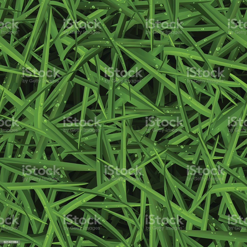 Green lawn texture with water drops in a seamless pattern vector art illustration