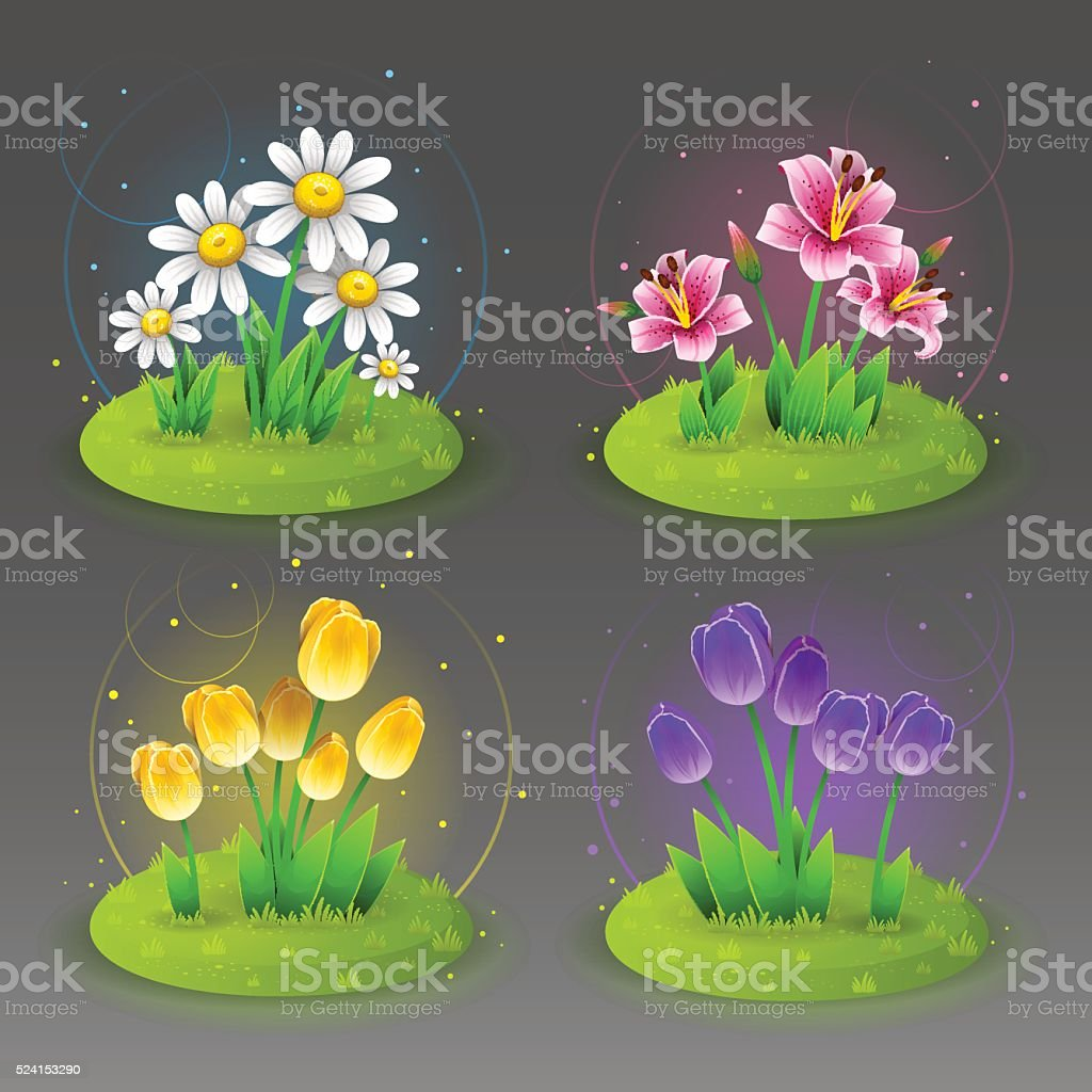 Green lawn with flowers 2 vector art illustration
