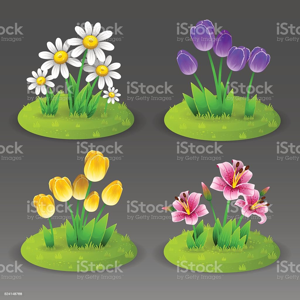 Green lawn with flowers vector art illustration