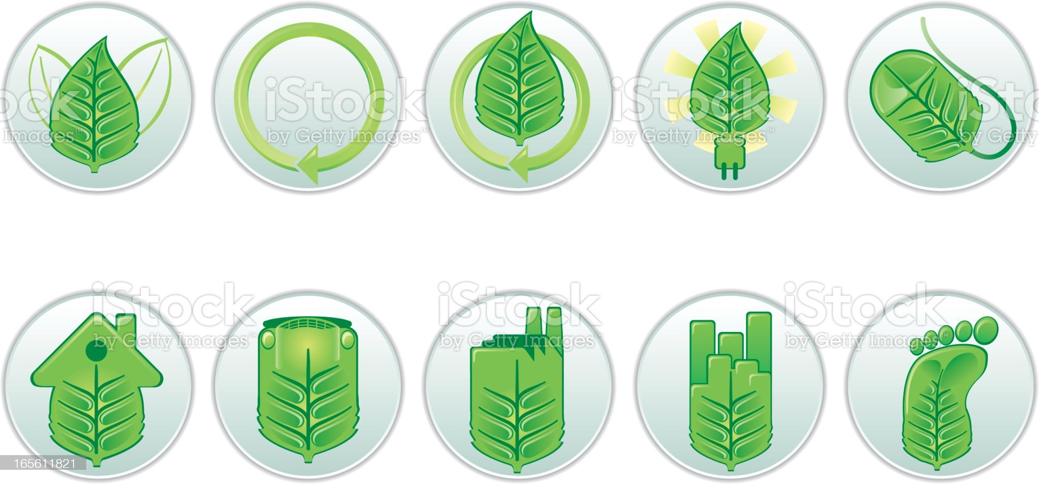Green Leaf Buttons royalty-free stock vector art