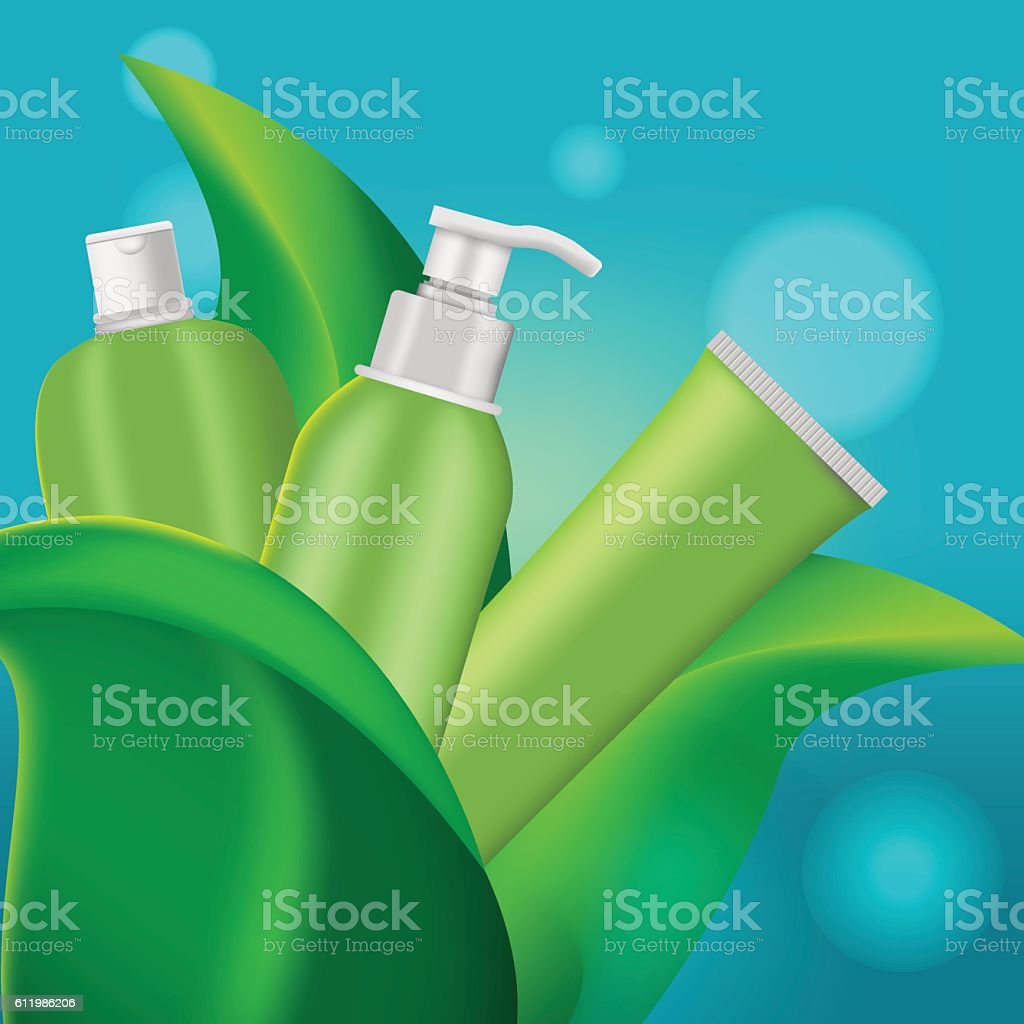 Green Leaf Cosmetic Product Background Vector vector art illustration