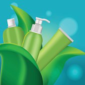 Green Leaf Cosmetic Product Background Vector