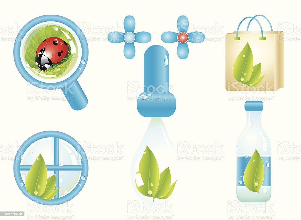 Green leaf ecology illustration set royalty-free stock vector art