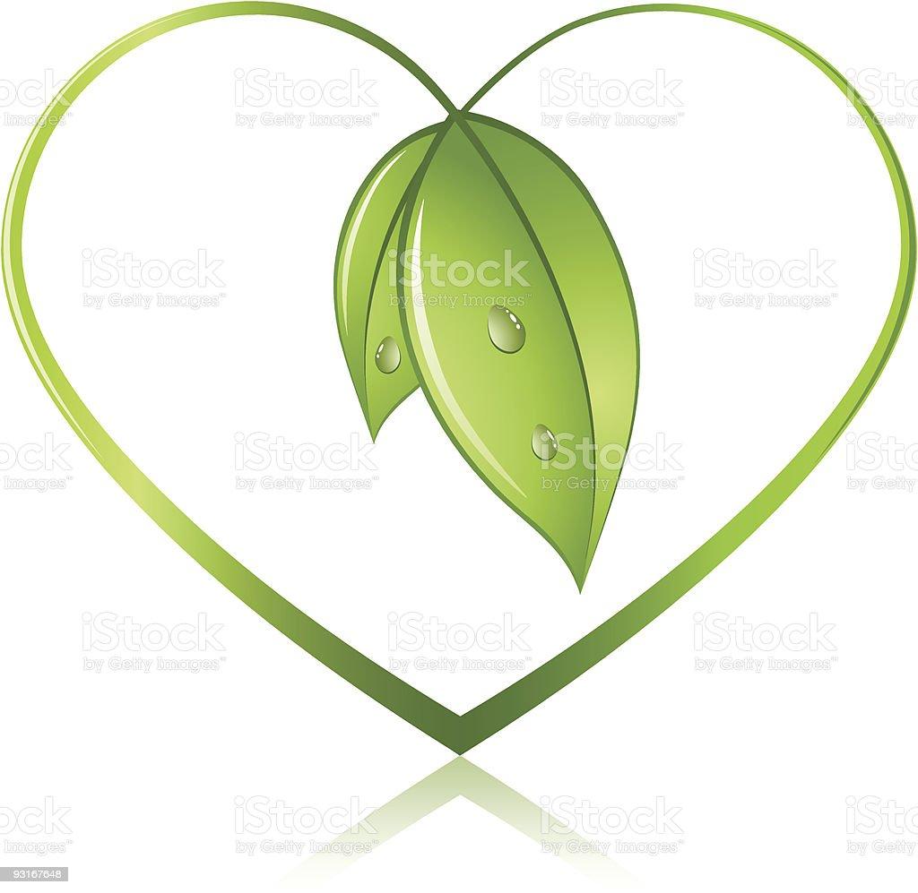 Green leaf heart vector art illustration