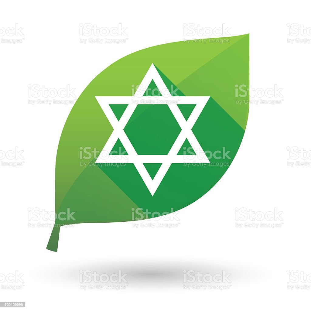 Green leaf icon with a david star vector art illustration