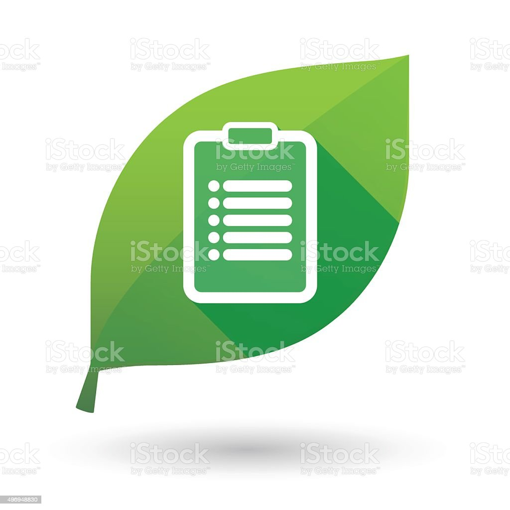 Green leaf icon with a report vector art illustration