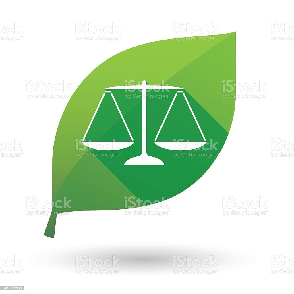 Green leaf icon with a weight scale vector art illustration