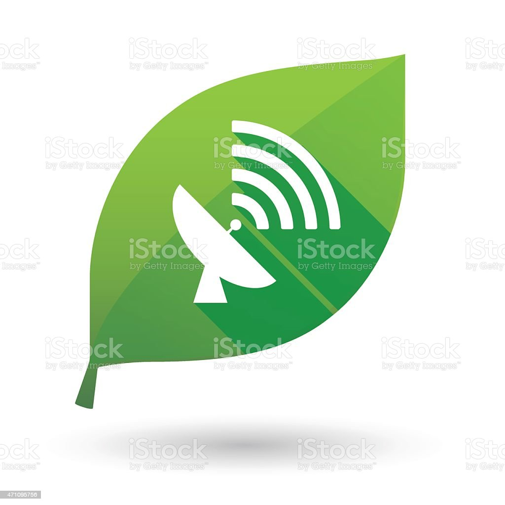 Green leaf icon with an antenna vector art illustration