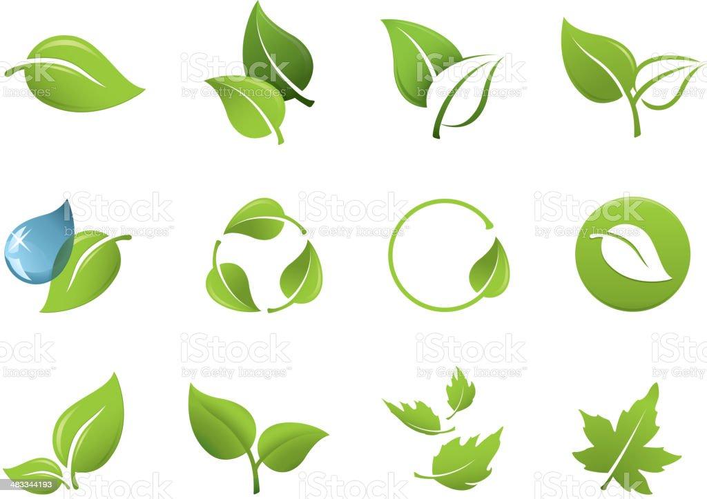 Green leaf icons vector art illustration