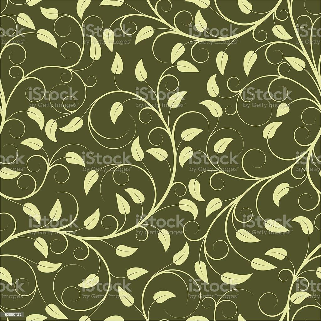 Green leaf pattern illustration on darker green background royalty-free stock vector art