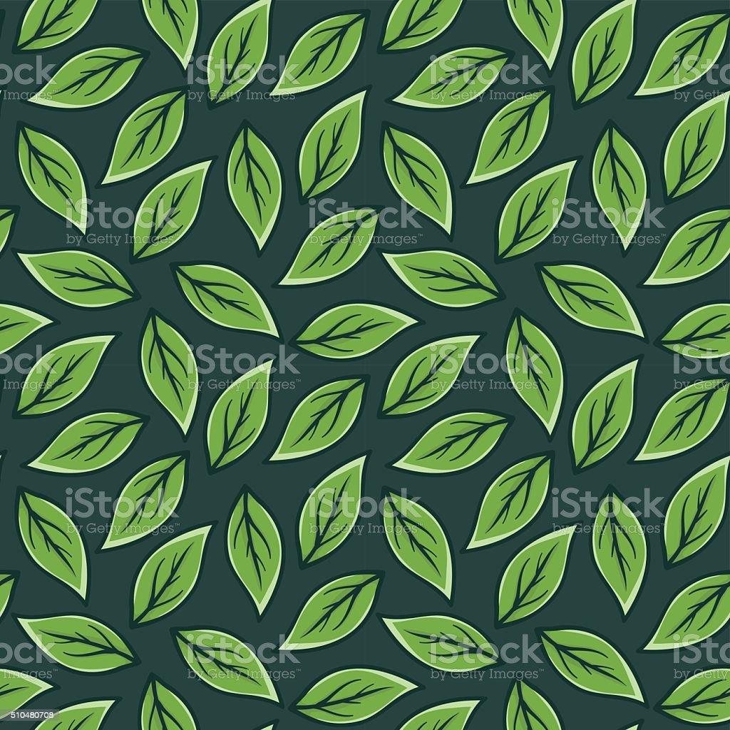 Green Leaf Seamless Pattern vector art illustration