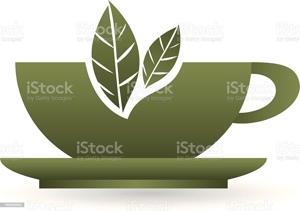 green leaf tea cup icon royalty-free stock vector art
