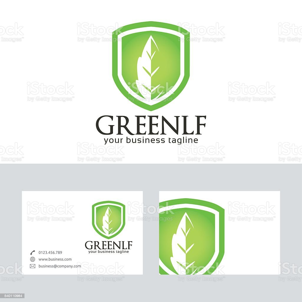 Green Leaf vector logo with business card template vector art illustration