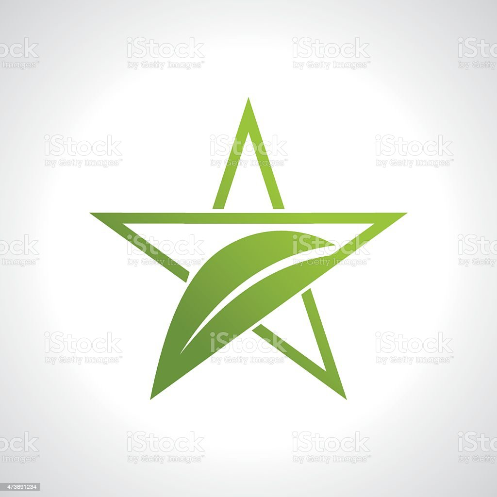 green leaf with star icon vector art illustration