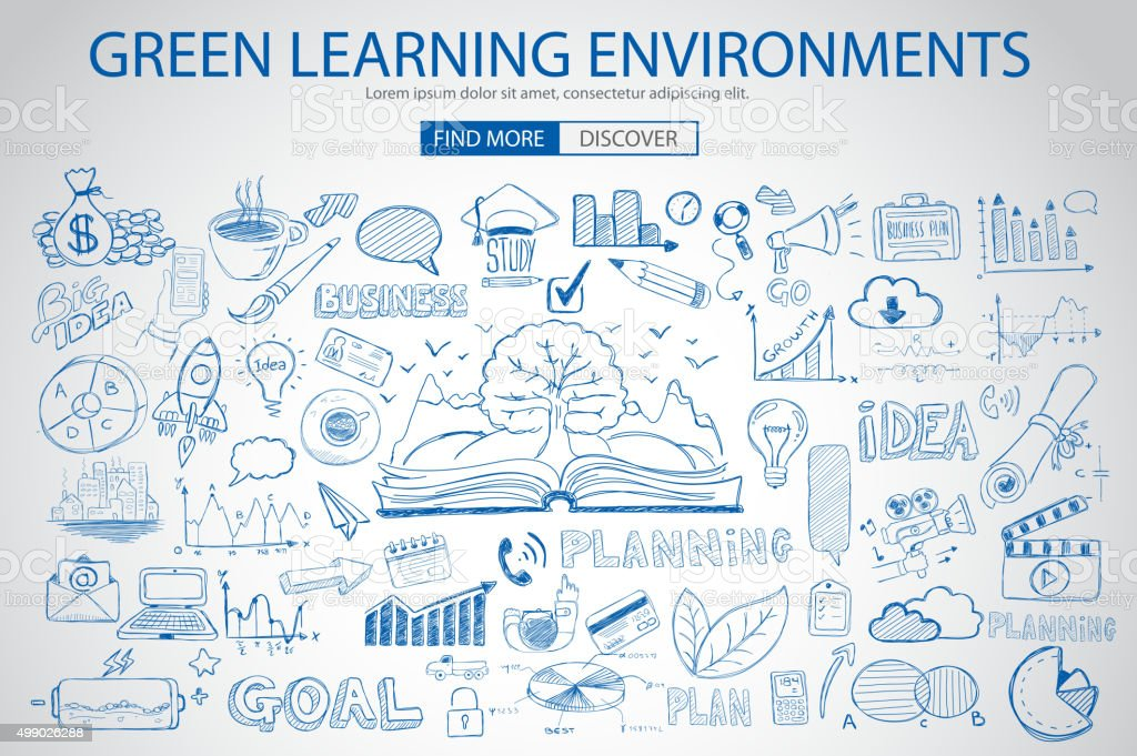 Green Learning Environment with Doodle design style vector art illustration