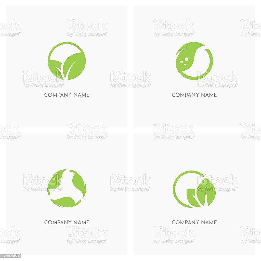 Green leaves and ecology design element vector art illustration