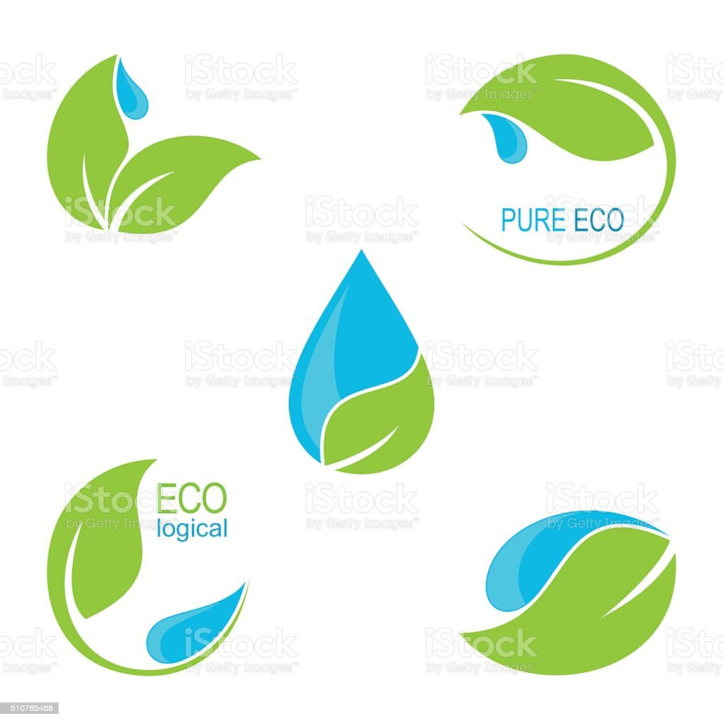 Green leaves and water droplets icons vector art illustration