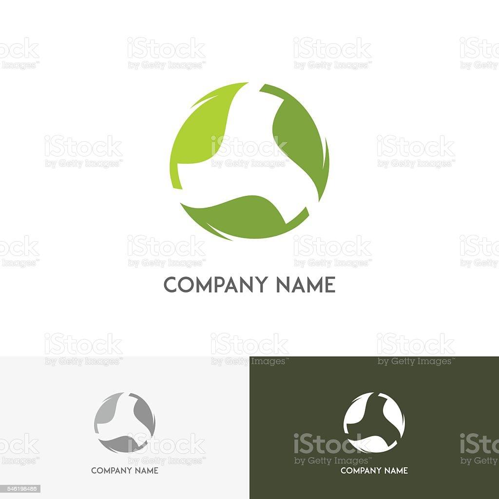 Green leaves design element vector art illustration
