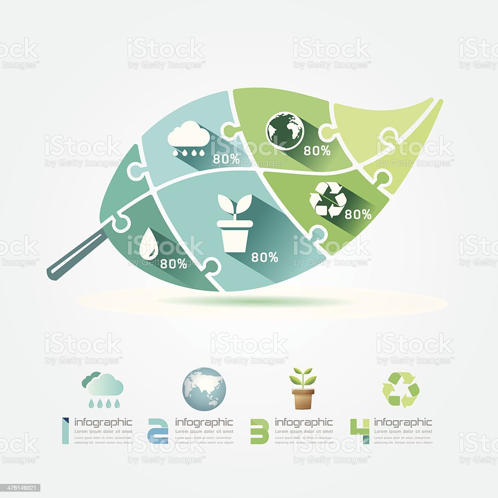 Green Leaves Design Elements Ecology Infographic Jigsaw Concept. vector art illustration