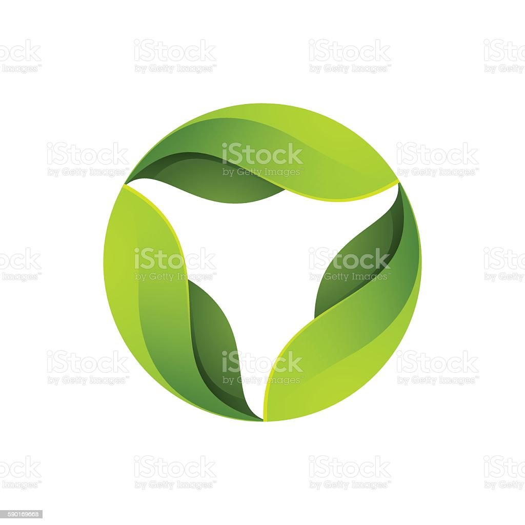 Green leaves in a swirl logo. vector art illustration