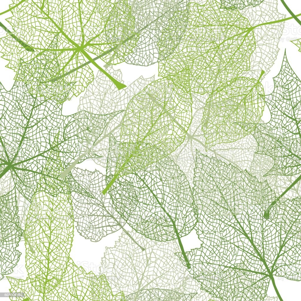 Green leaves seamless pattern vector art illustration