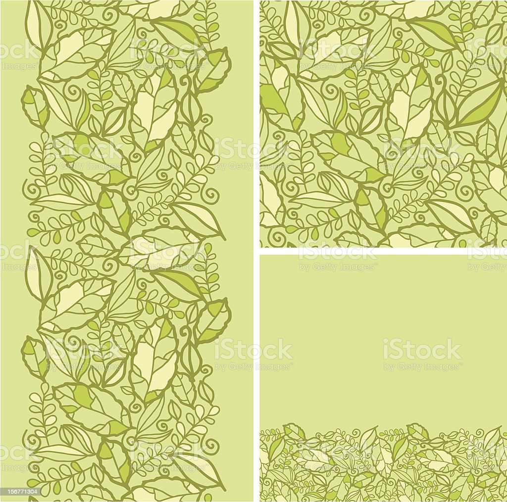 Green leaves texture seamless patterns set royalty-free stock vector art