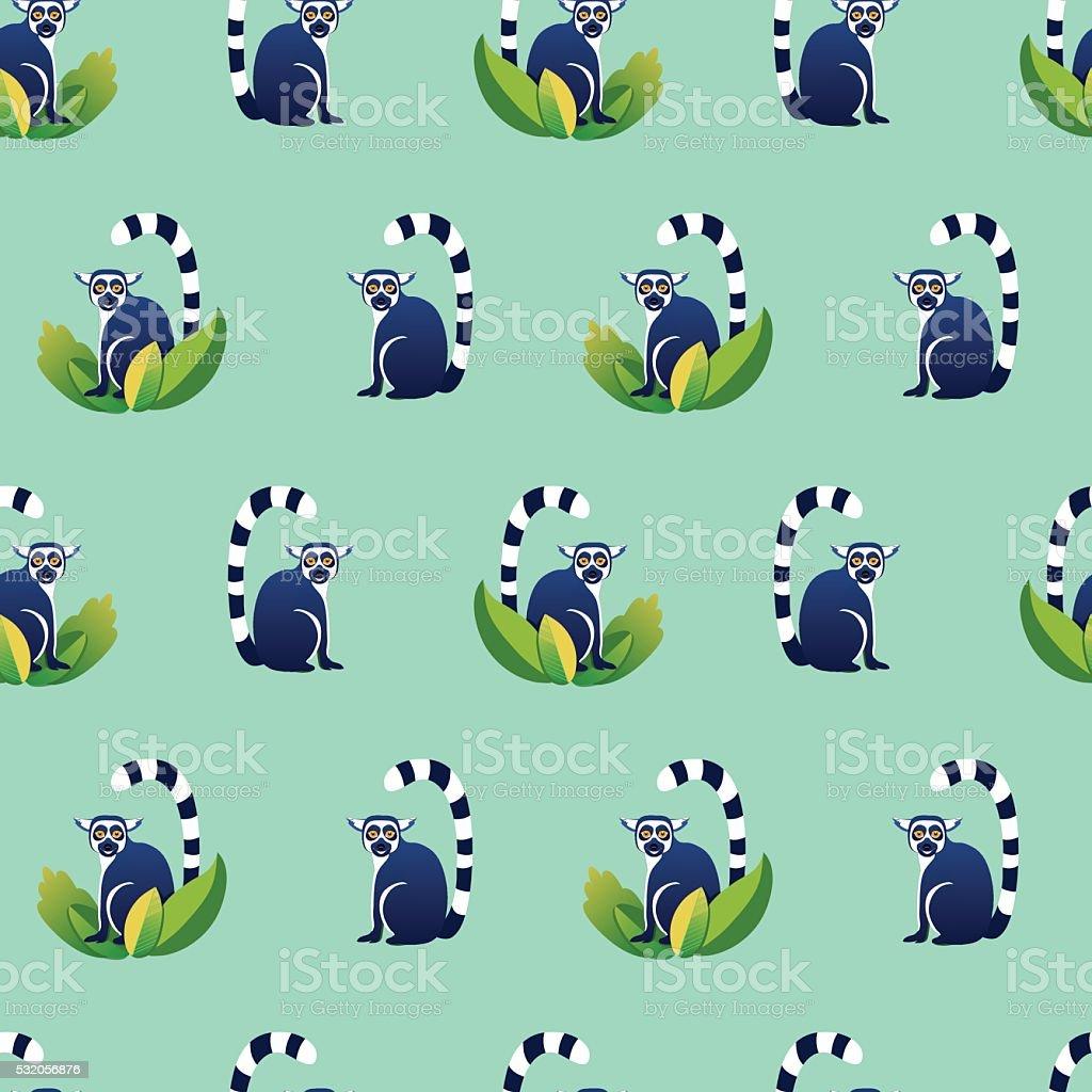 green lemur seamless vector art illustration
