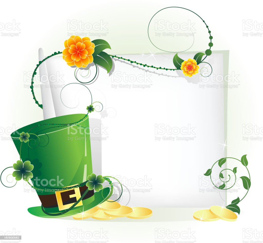 Green leprechaun hat and sheet of white paper royalty-free stock vector art