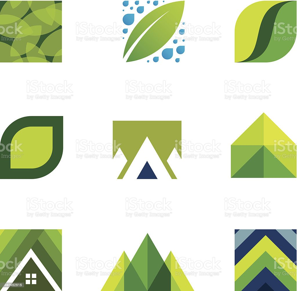 Green life creative logo set construction better life icons vector vector art illustration