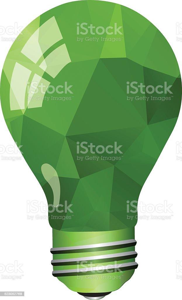 Green Light Bulb vector art illustration