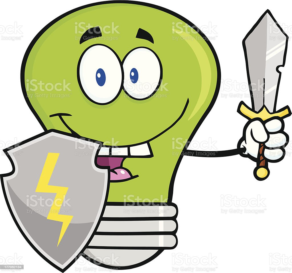 Green Light Bulb With Shield And Sword royalty-free stock vector art
