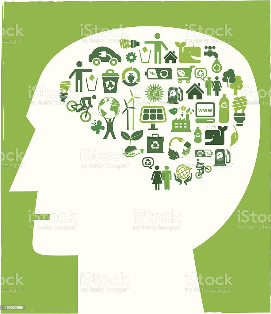 green living icons in head shape royalty-free stock vector art