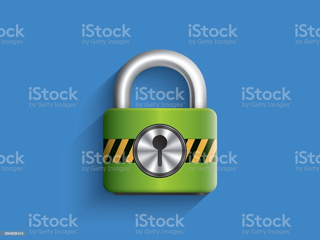 Green locked master key on blue background vector art illustration