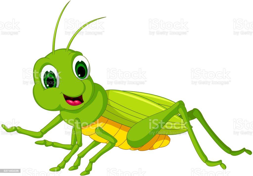 green locust cartoon vector art illustration