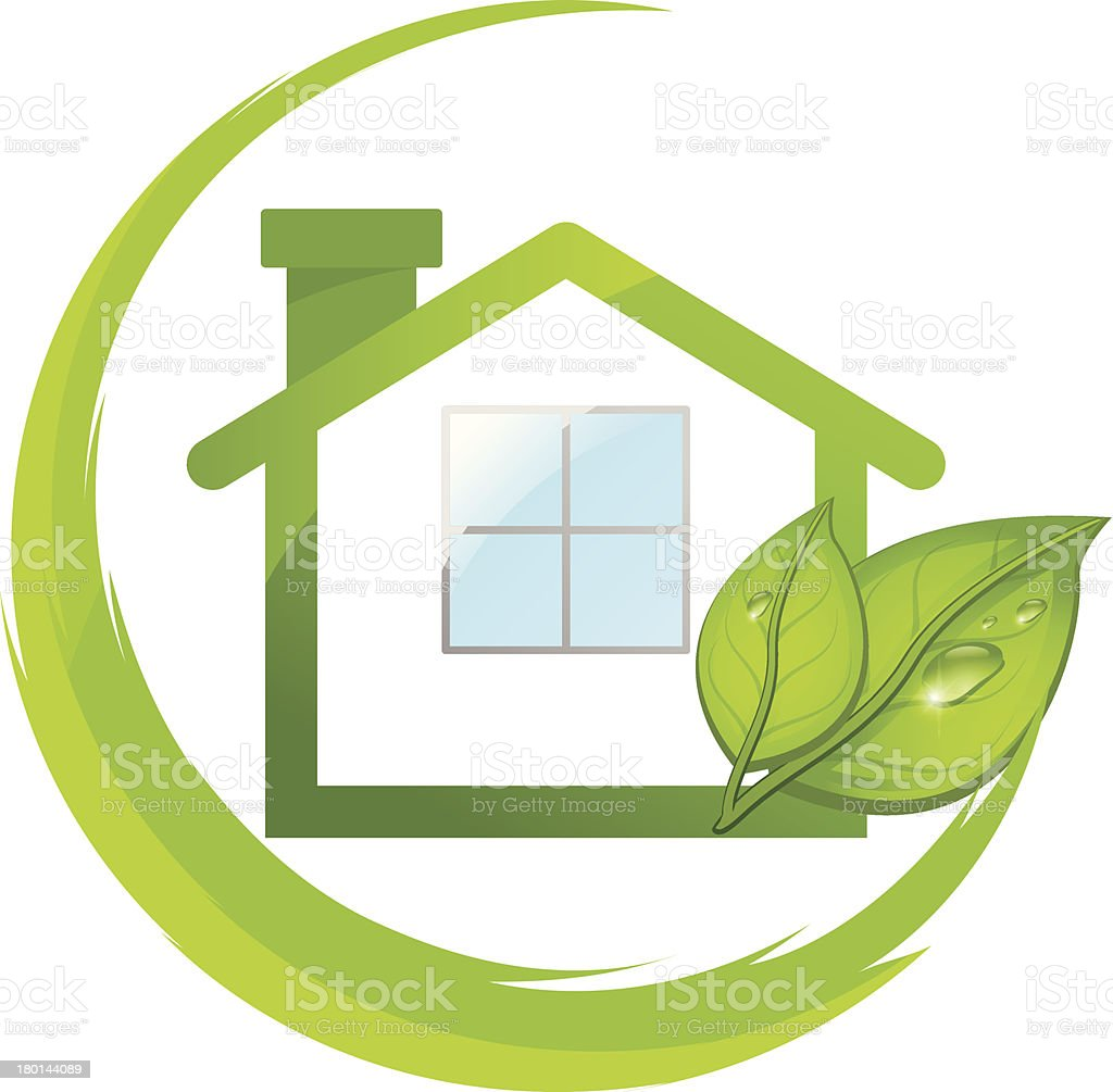Green logo of eco house with leafs royalty-free stock vector art