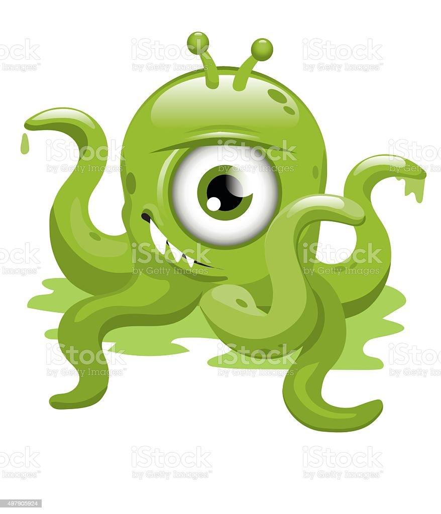 Green Malevolent Monster vector art illustration