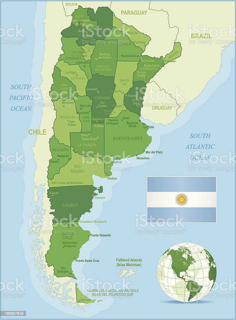 Green Map of Argentina - states, cities and flag vector art illustration