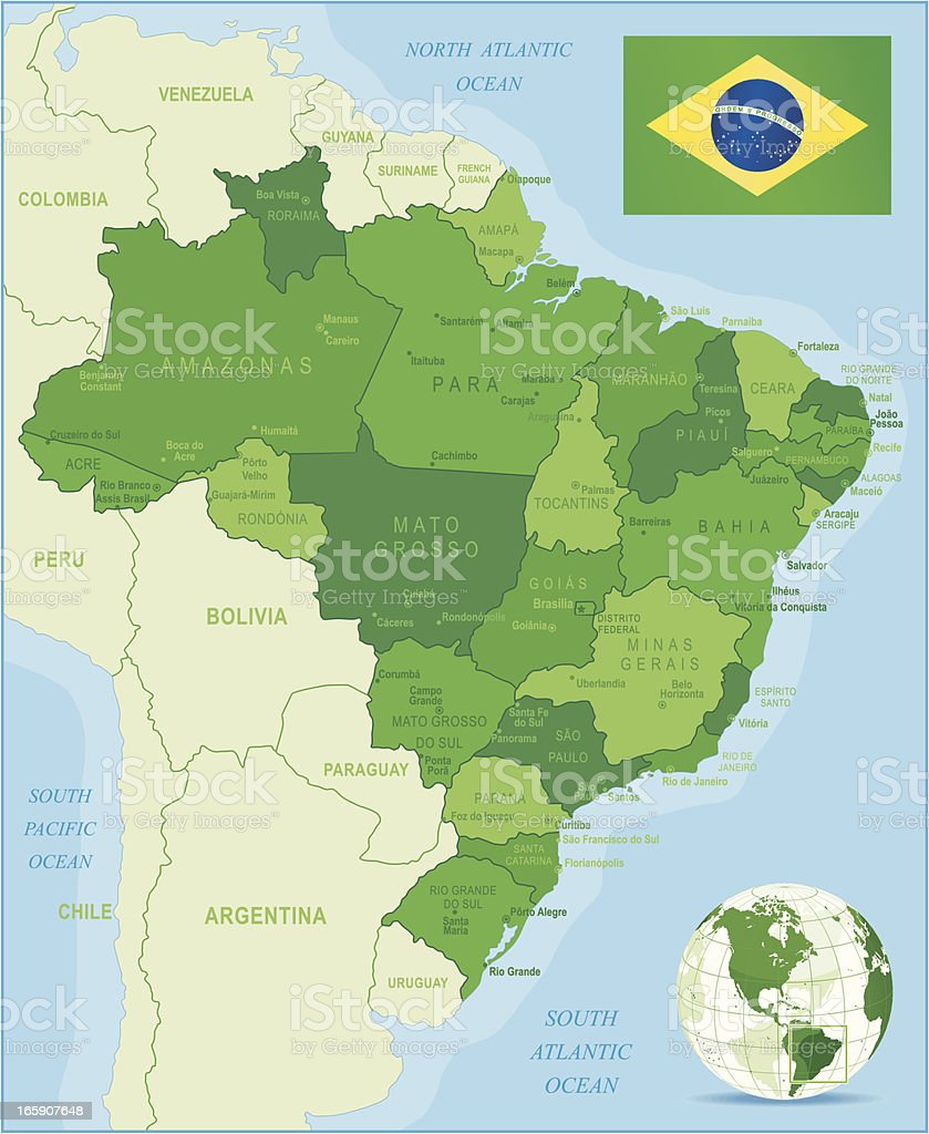 Green Map of Brazil - states, cities and flag royalty-free stock vector art