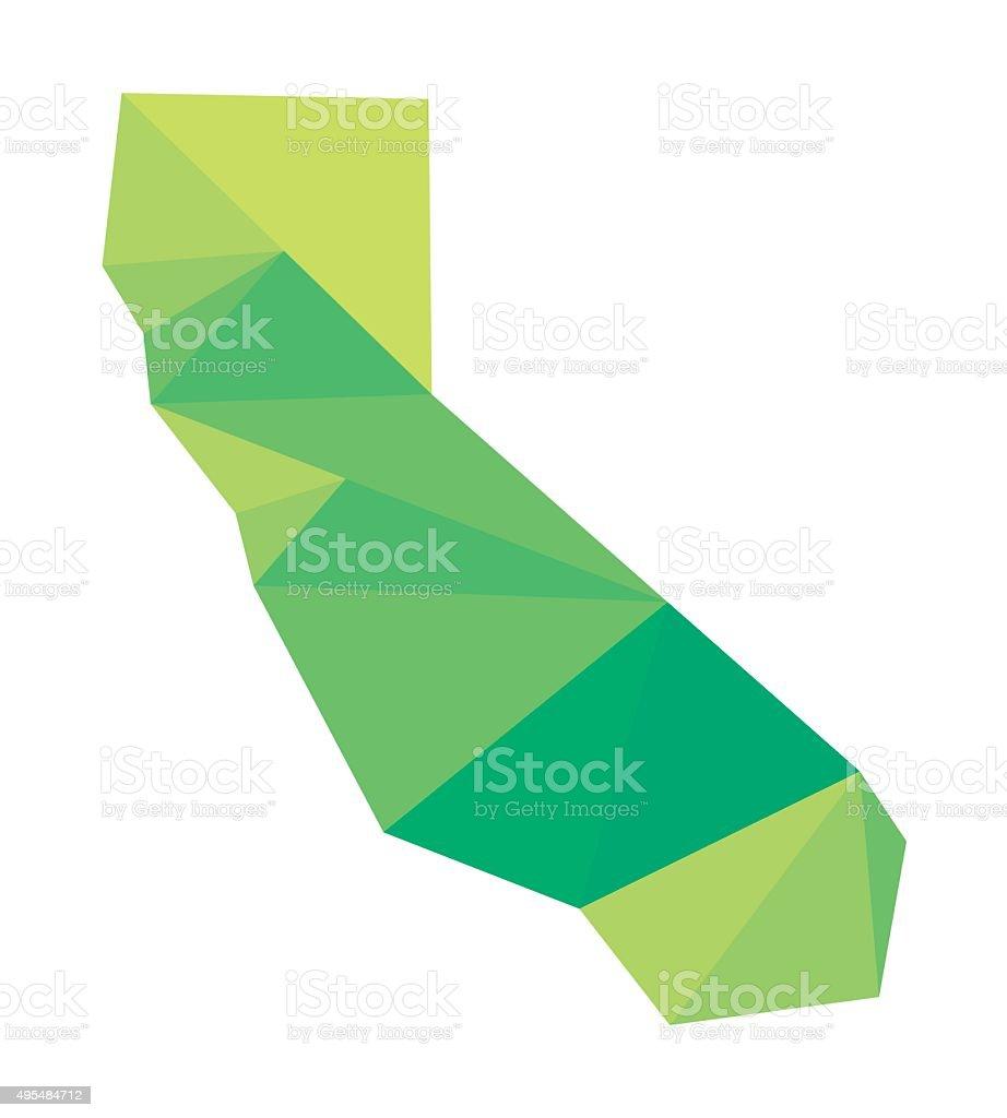 green map of California vector art illustration