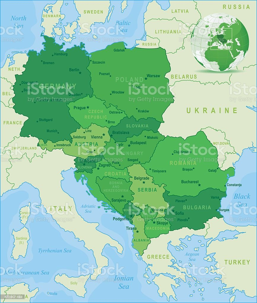 Green Map of Central Europe - states and cities royalty-free stock vector art