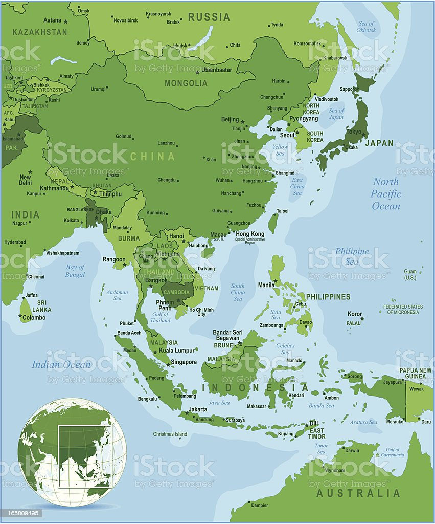Green Map of East Asia royalty-free stock vector art