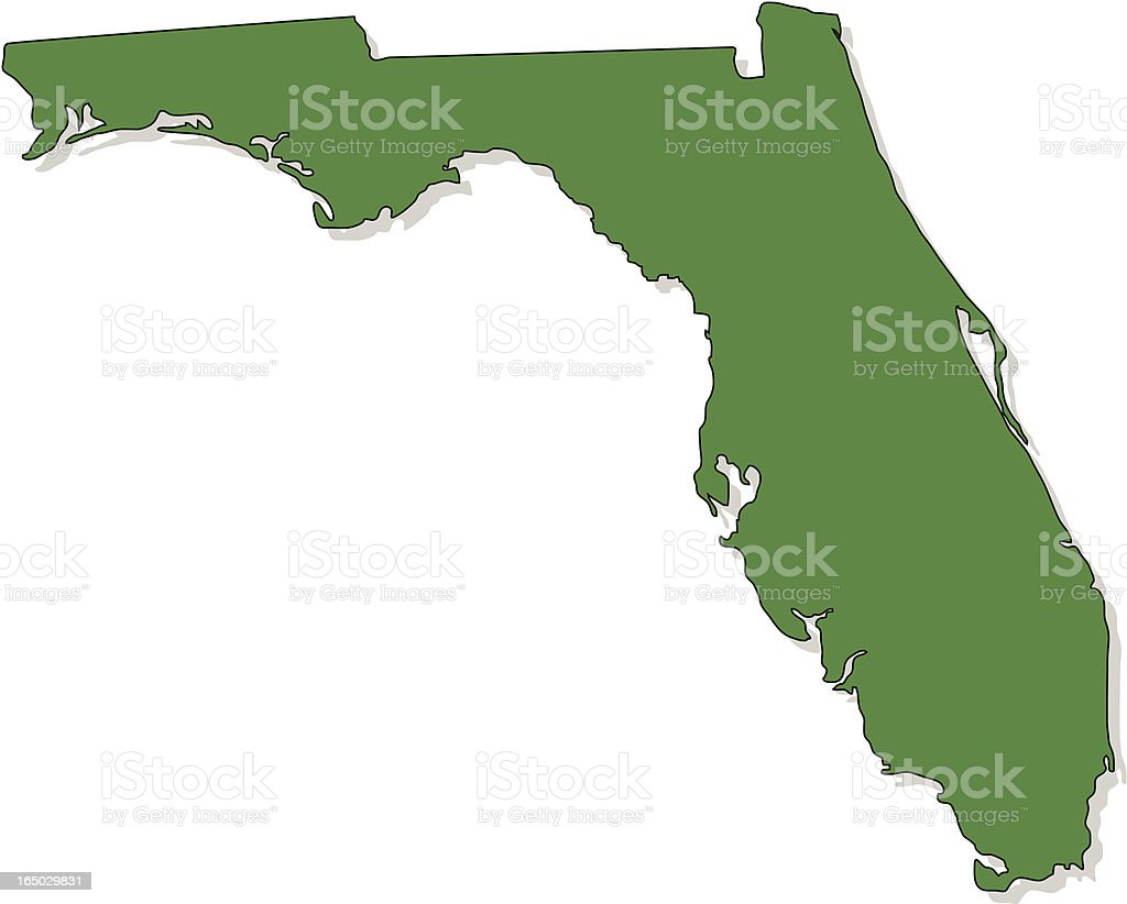 Green map of Florida without labels royalty-free stock vector art