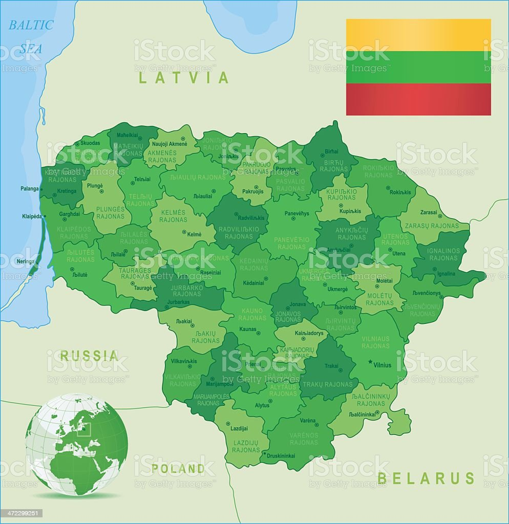 Green Map of Lithuania - states, cities and flag royalty-free stock vector art