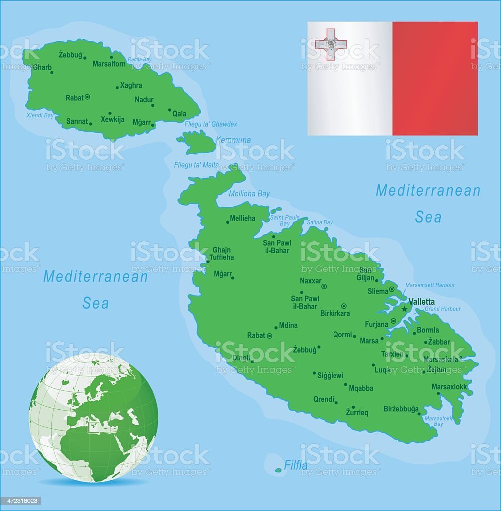 Green Map of Malta - cities and flag royalty-free stock vector art