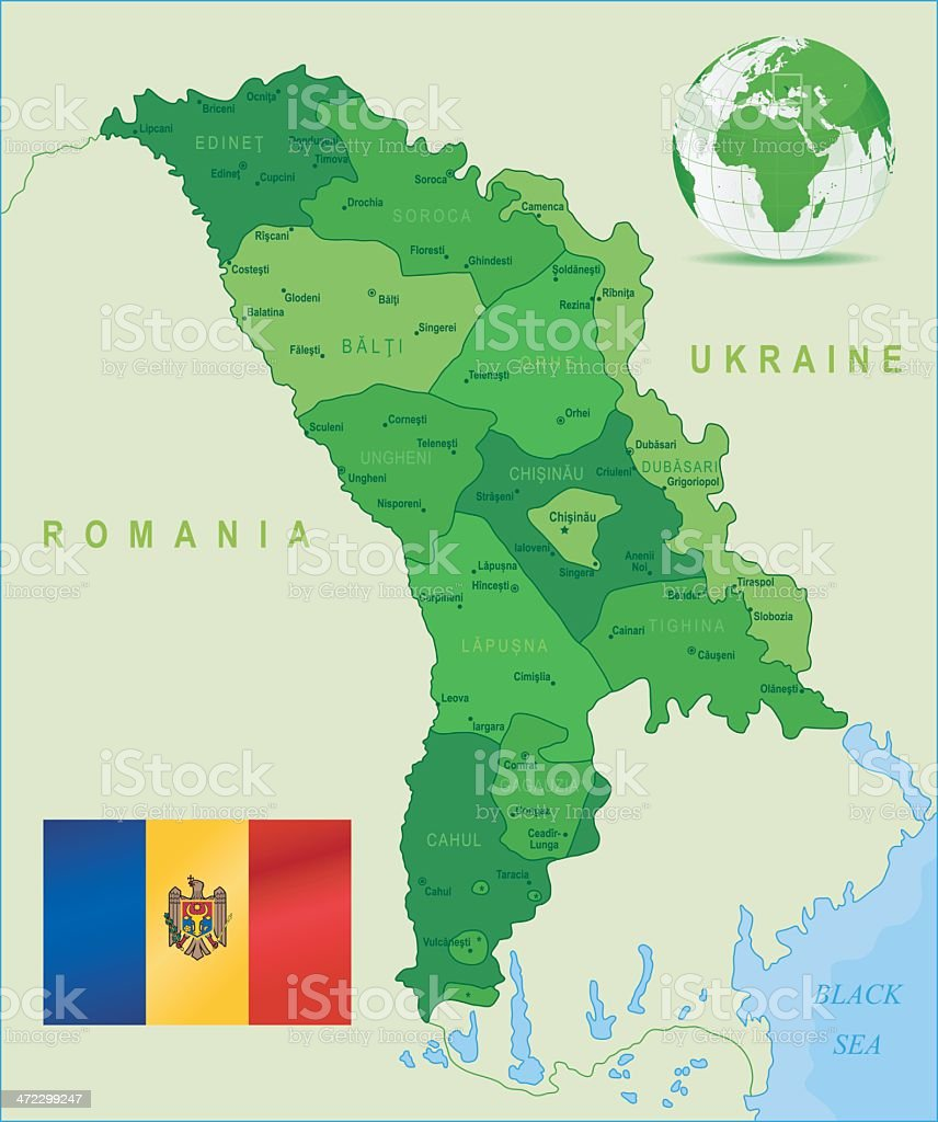 Green Map of Moldova - states, cities and flag royalty-free stock vector art