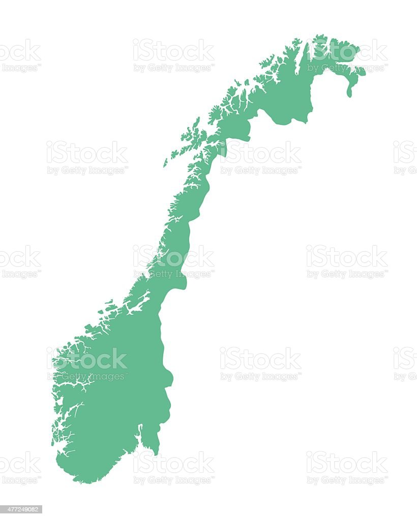 green map of Norway vector art illustration
