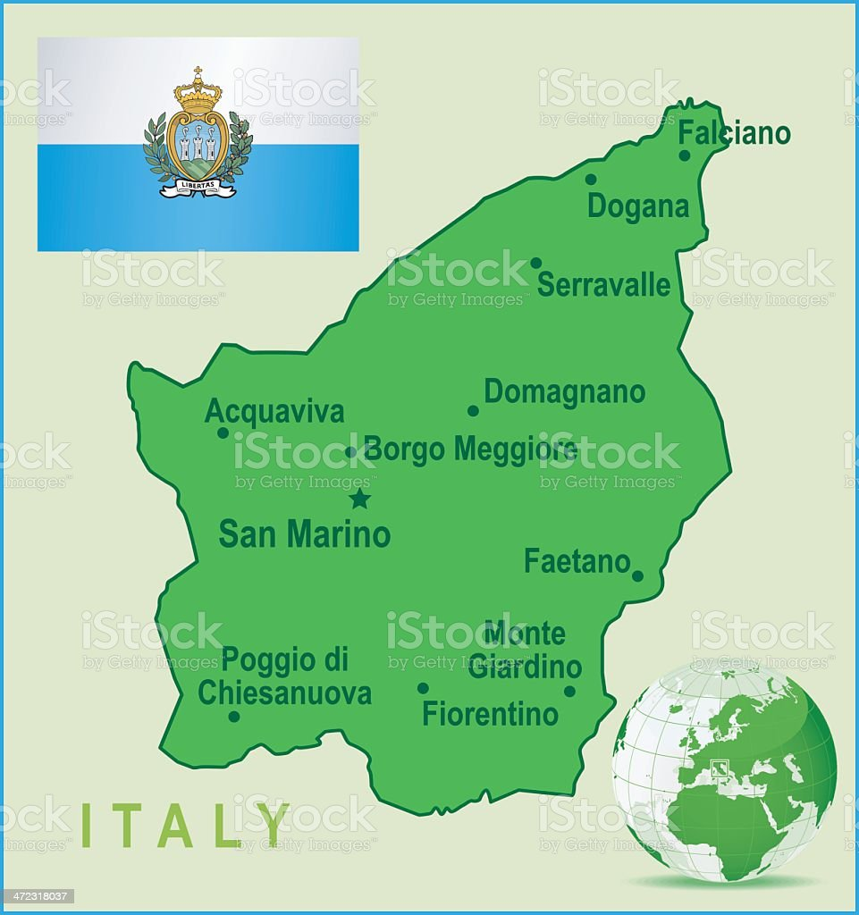 Green Map of San Marino - cities and flag royalty-free stock vector art